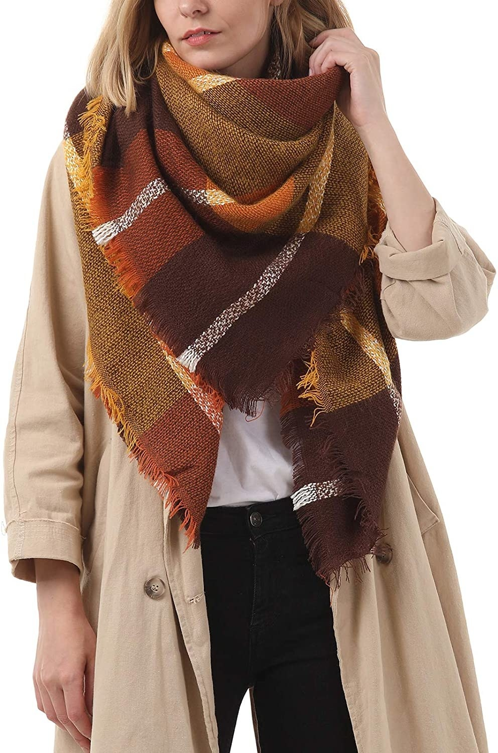 a model wearing the brown plaid oversized shawl