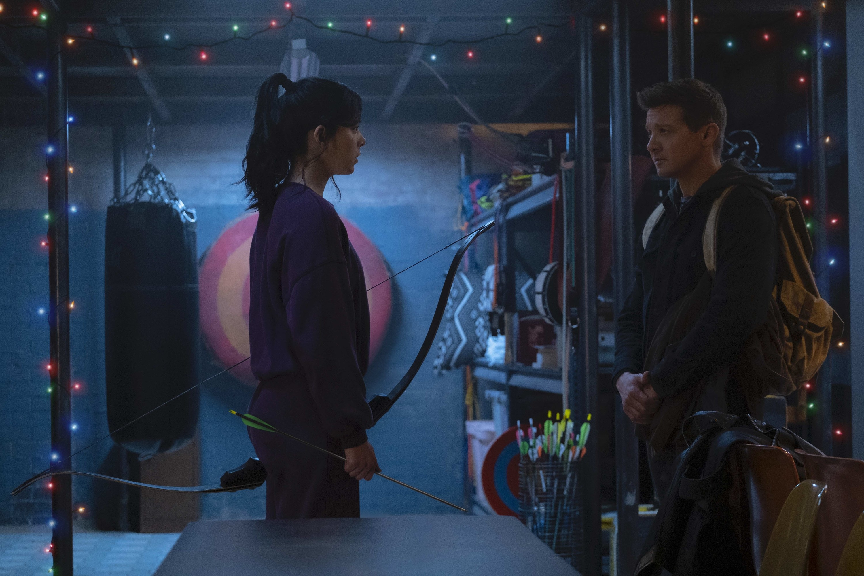 Hailee as Hawkeye and Jeremy Renner as Clint Barton