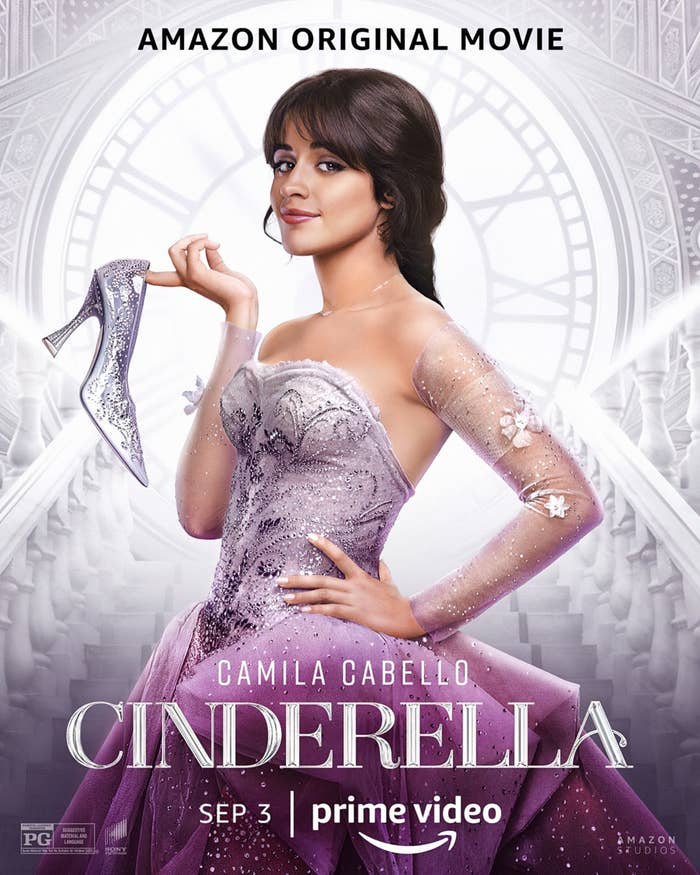 """Poster image for the Amazon Original Movie Cinderella """"Sep 3,"""" showing Camila, hand on hip, in a strapless gown and dangling one shoe off her finger"""