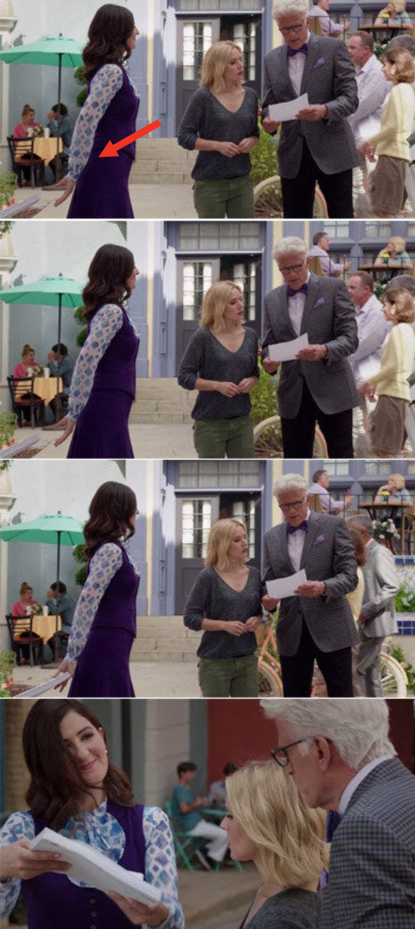 Janet being handed a stack of papers from the bottom of the screen and then handing them to Michael