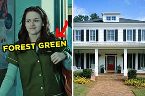 On the left, Bella from Twilight walking into class with an arrow pointing to her shirt and forest green typed on top of it, and on the right, a suburban home with a front porch with rocking chairs on it