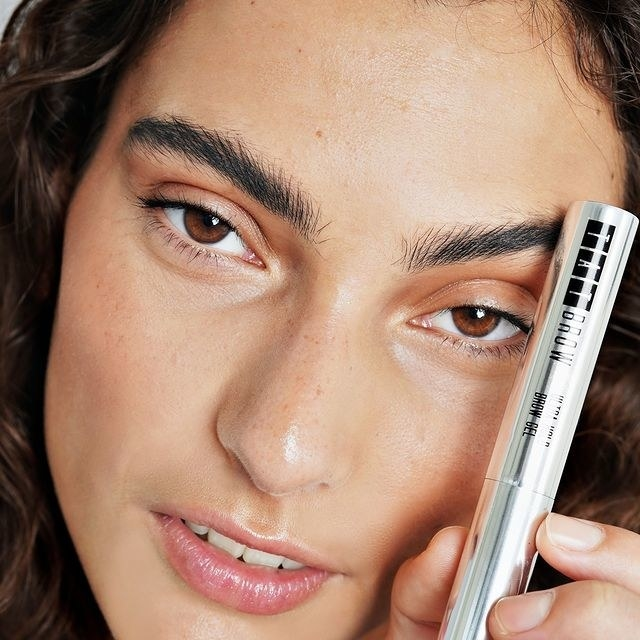 A person wearing the brow gel