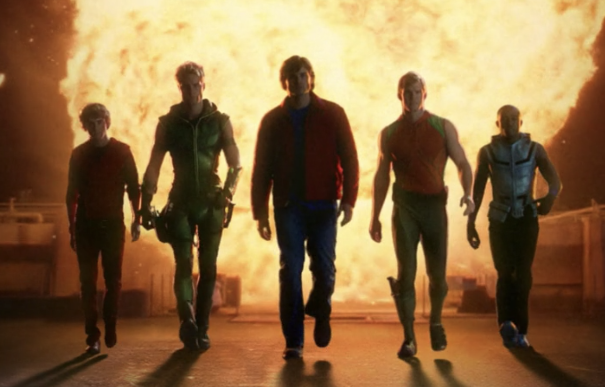 The Justice League and Clark walk away from an explosion
