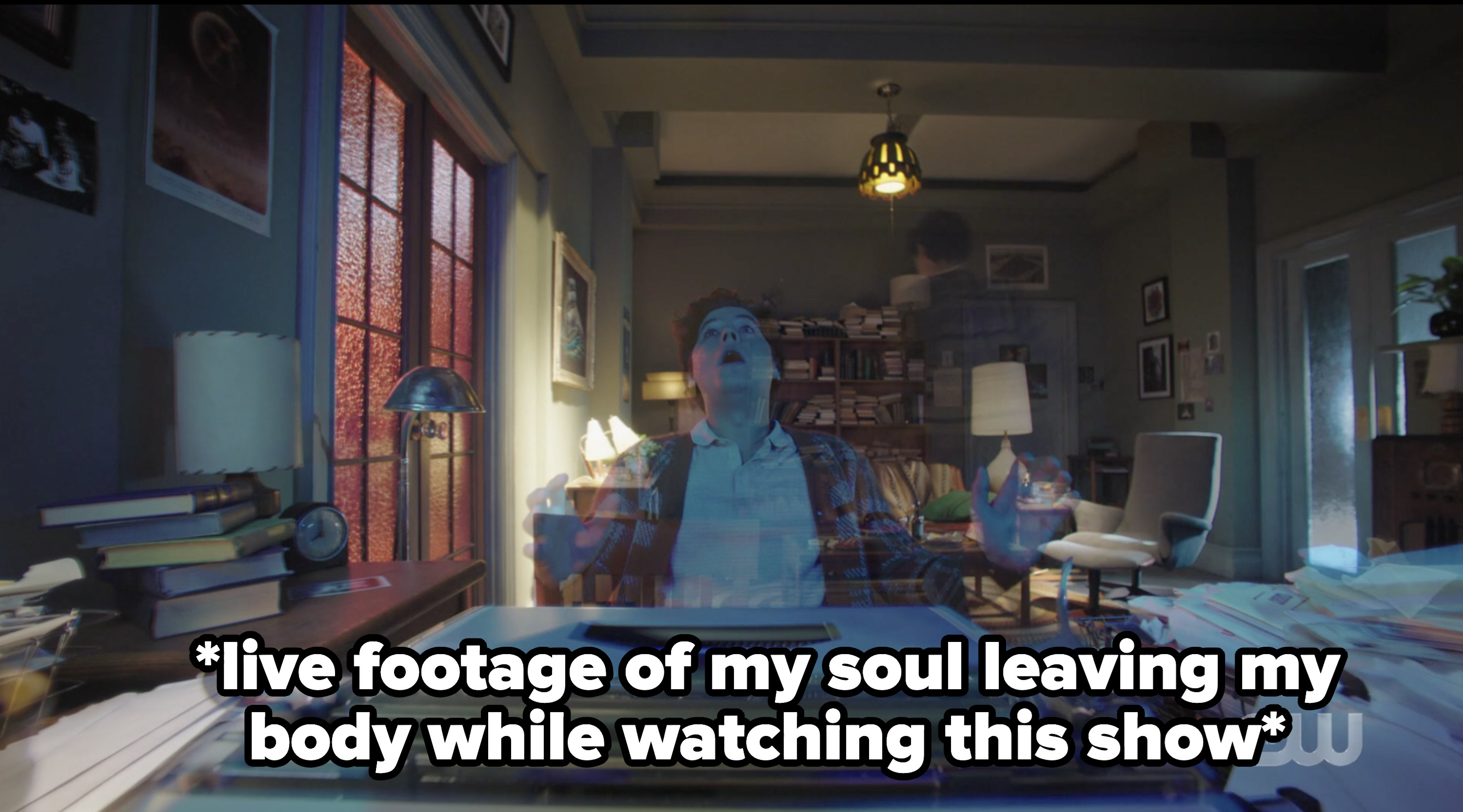 Jughead hallucinating with the caption live footage of my soul leaving my body while watching this show