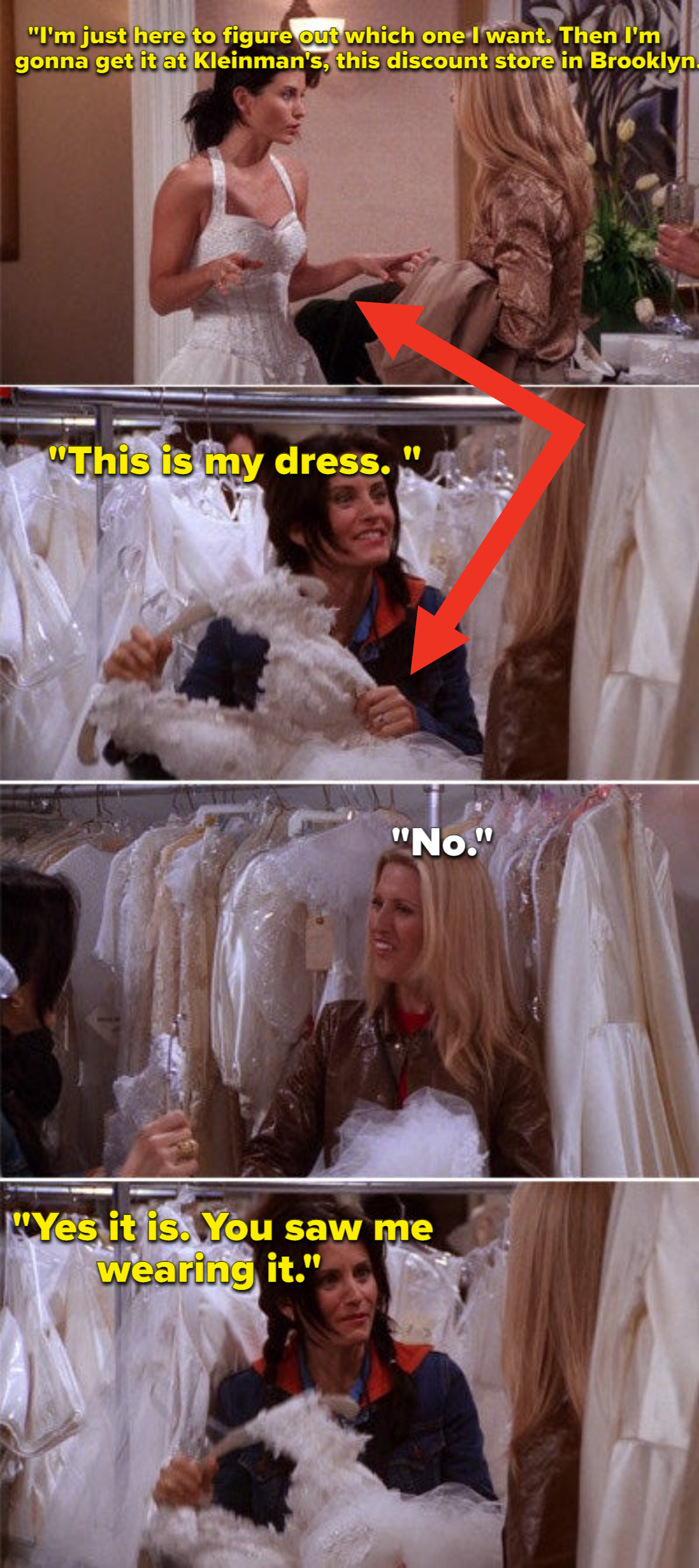 Monica choosing her wedding dress and then picking up a different one at the store and claiming it's the same one she tried on prior