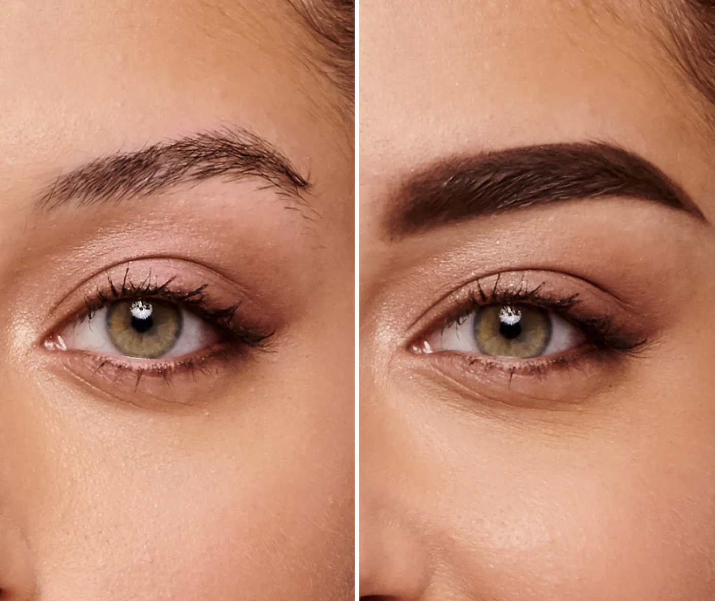 A model's sparse brow without the product / A model's fuller brow with the product
