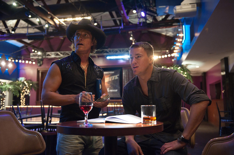 Matthew McConaughey and Channing Tatum having a drink