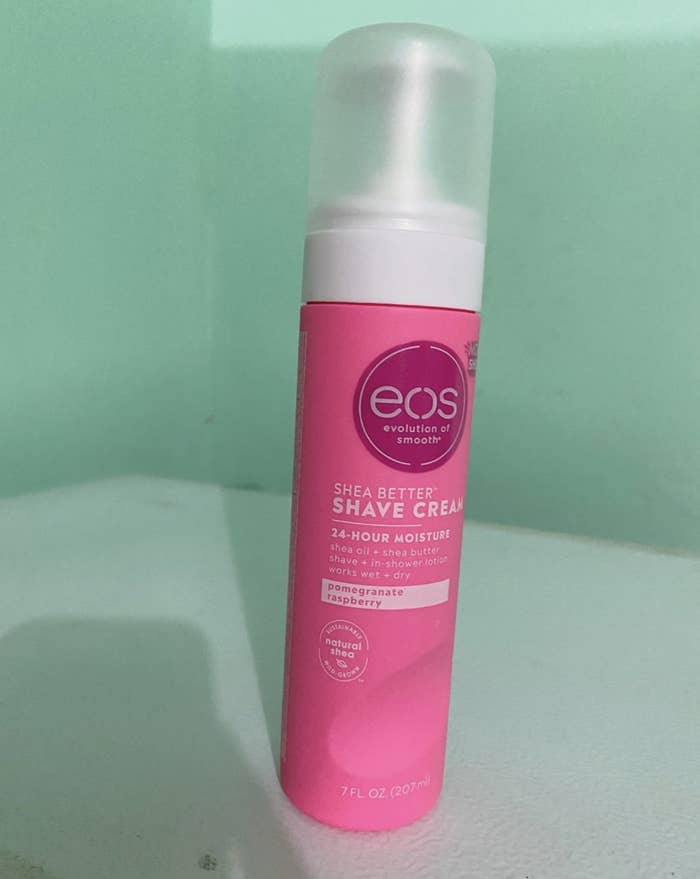 Reviewer image of the pink canister of shaving cream