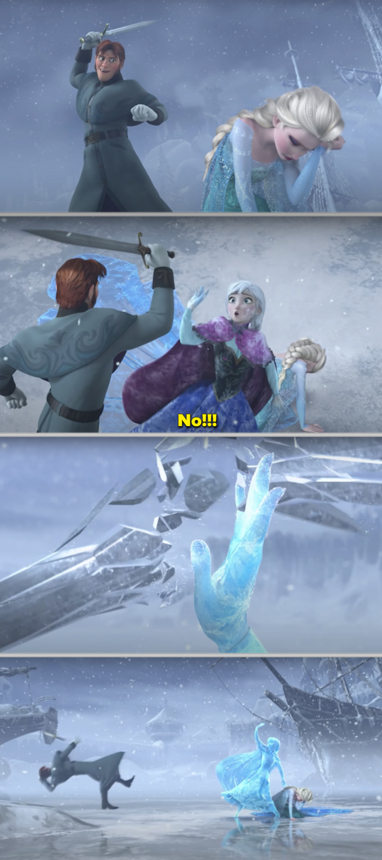 Anna jumping in front of the sword and turning to ice