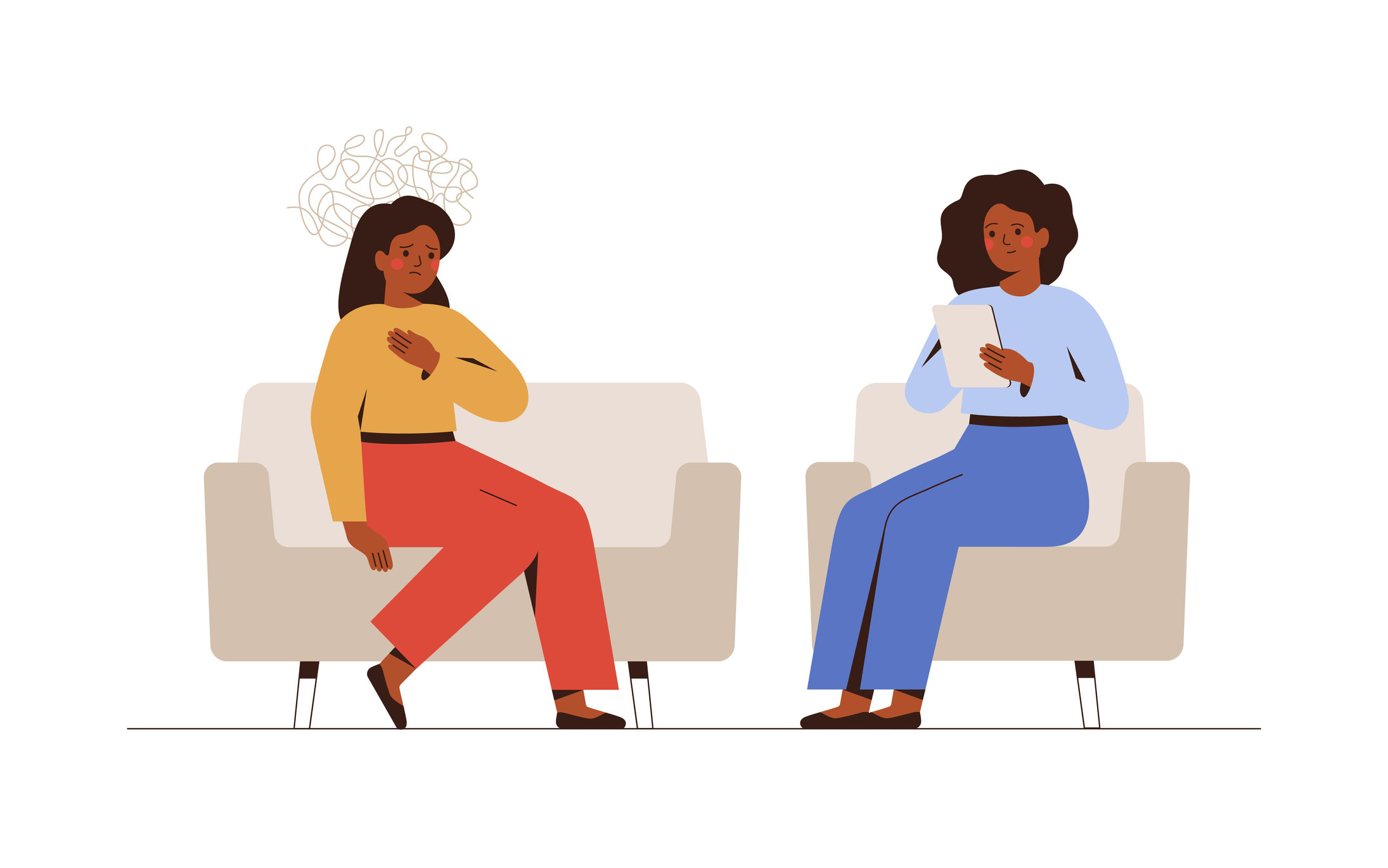 illustration of woman talking about feelings in therapy