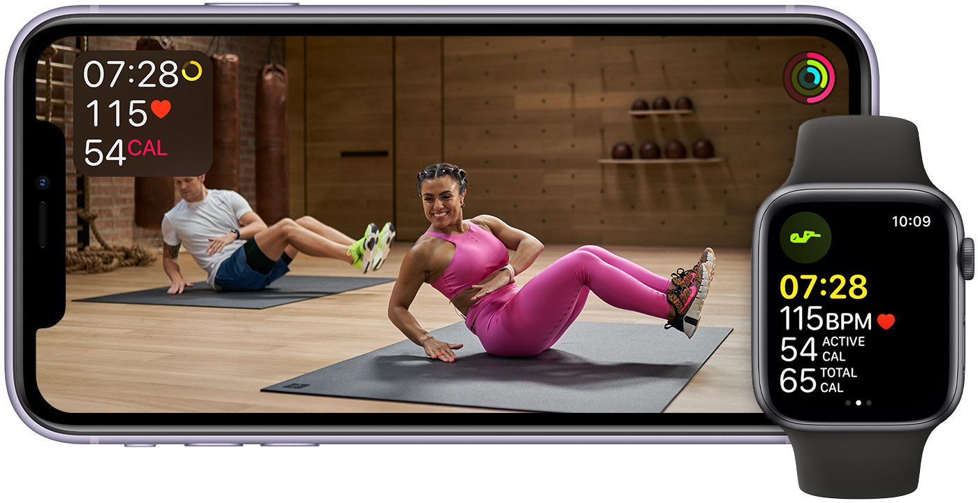 The workout streaming on a phone