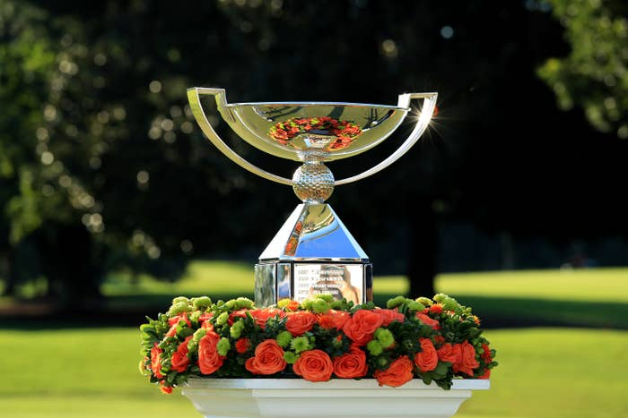 Tour championship trophy surrounded by flowers