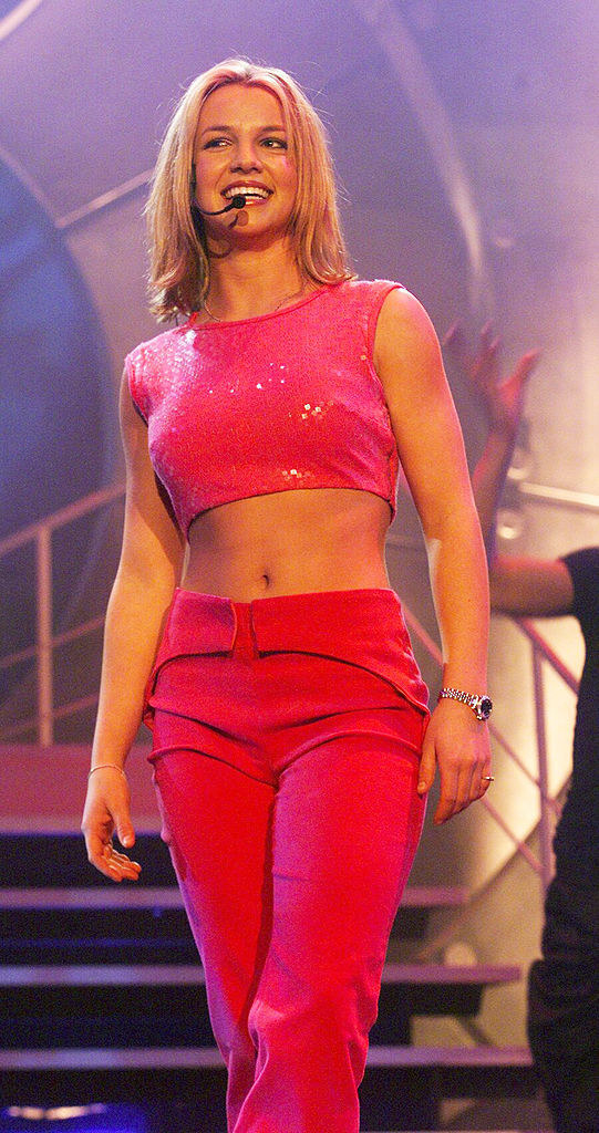 Britney in a bright pink performance look