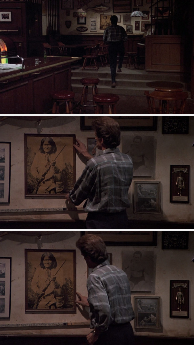 Sam adjusting the picture of Geronimo