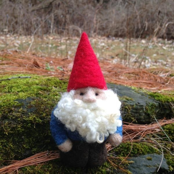 A needle felt gnome