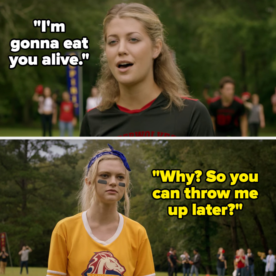 """girl: """"I'm gonna eat you alive,"""" Lizzie: """"Why? So you can throw me up later?"""""""
