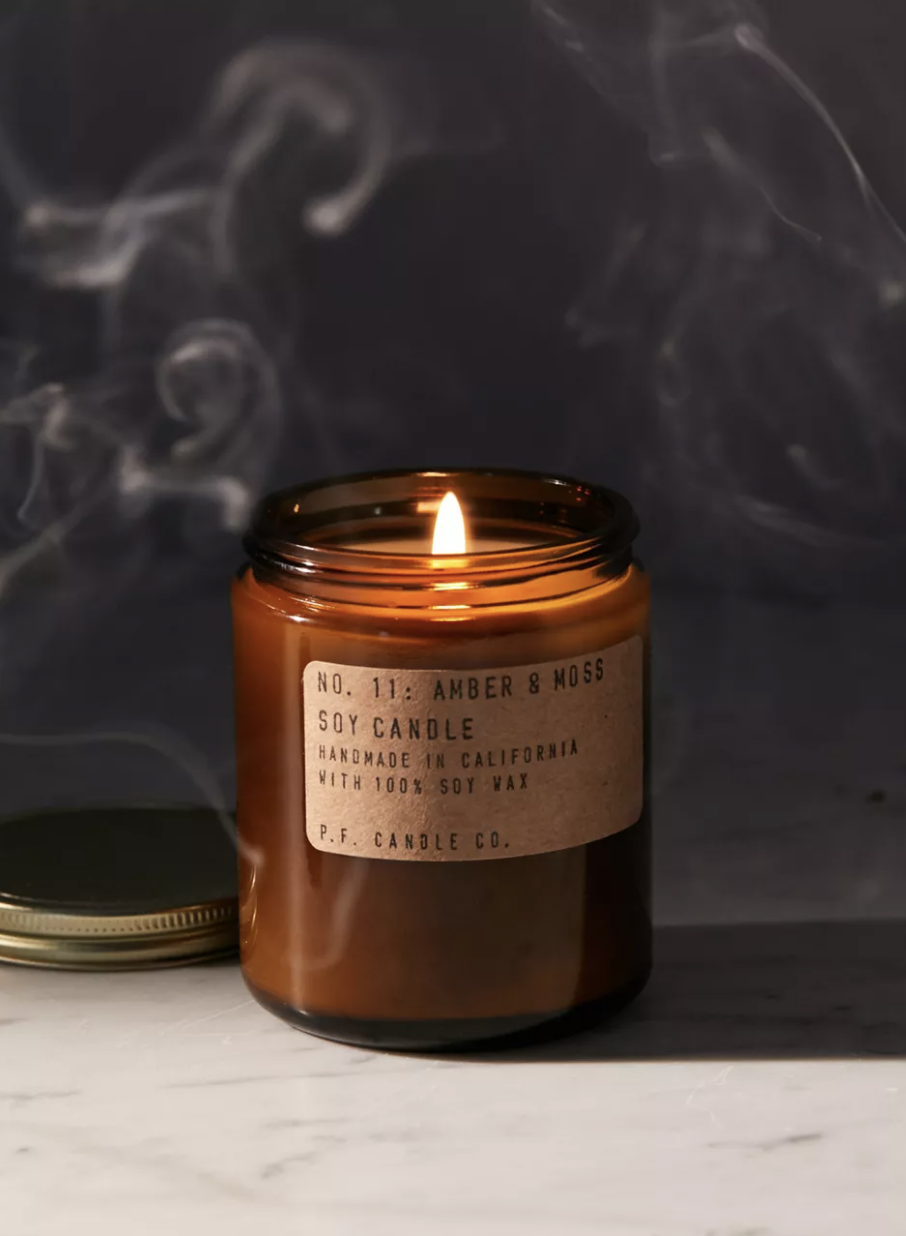 a brown glass candle