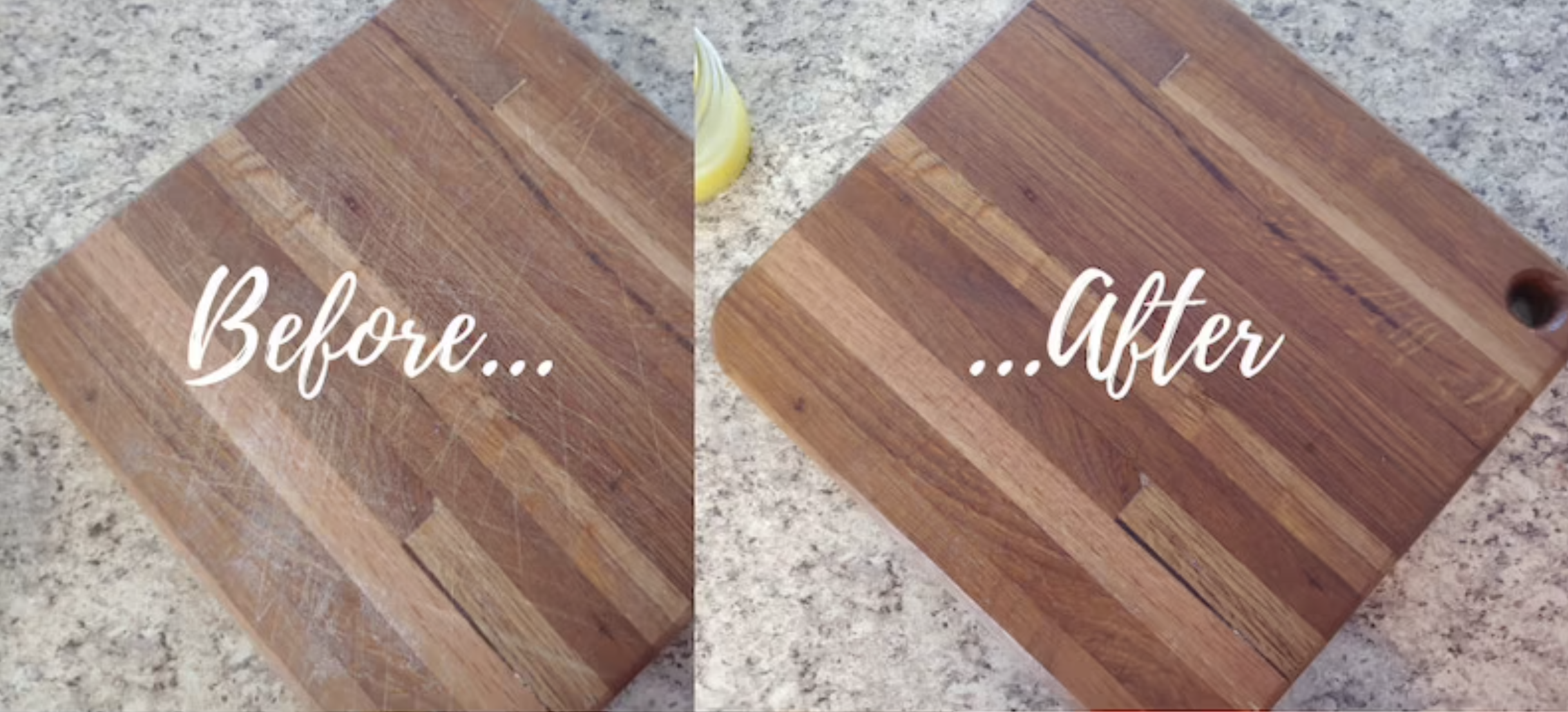 A before and after pic of a scuffed up cutting board with the scuffs gone