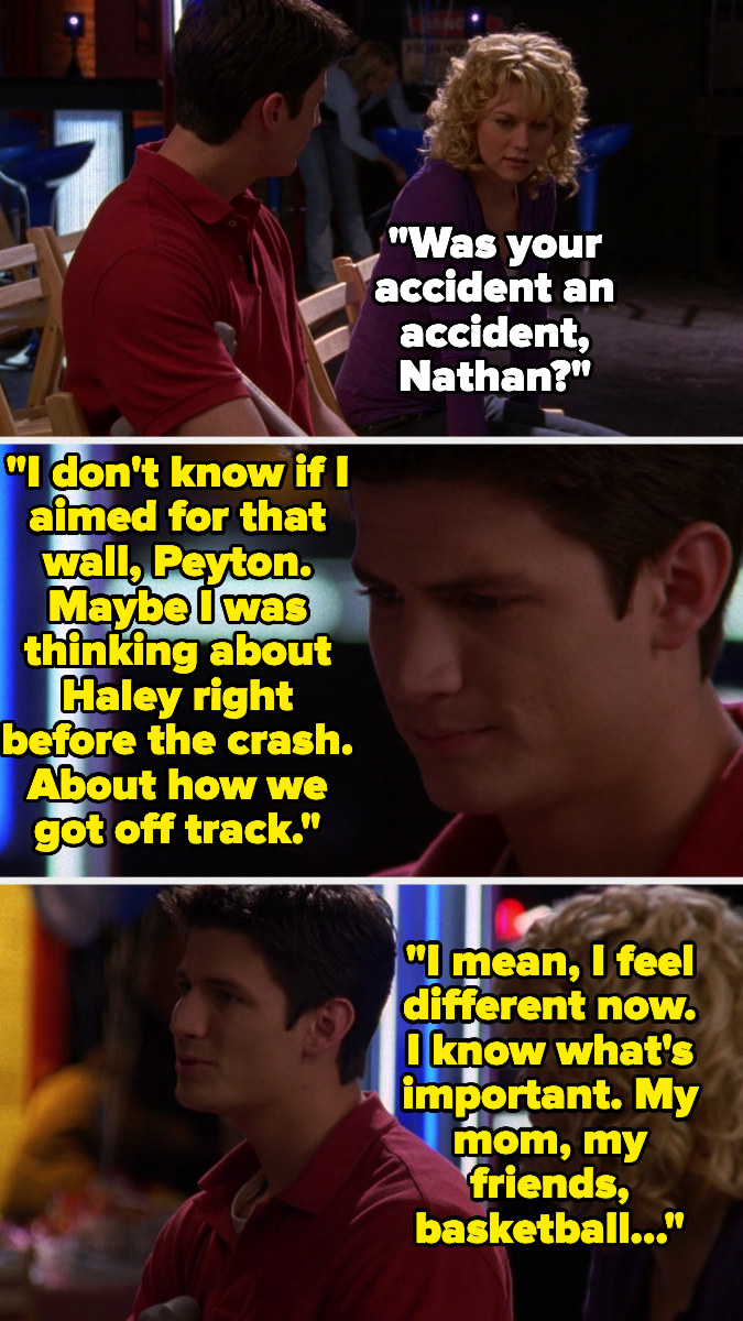 Peyton asks Nathan if his accident was really an accident, Nathan says he doesn't know