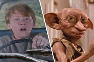On the left, Ron Weasley opening his mouth wide in horror, and on the right, Dobby smiling