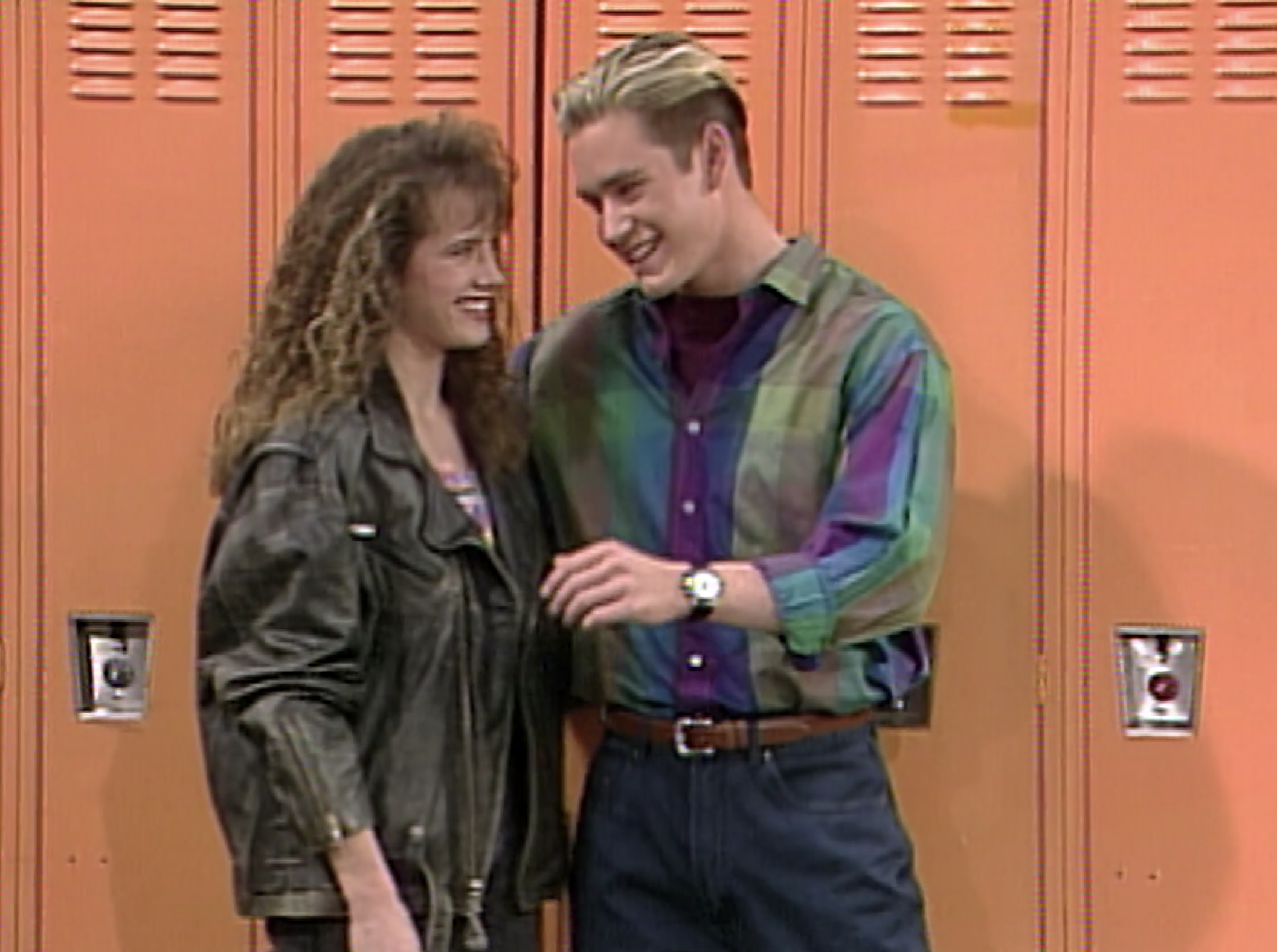 Zack and Tori hanging by the lockers