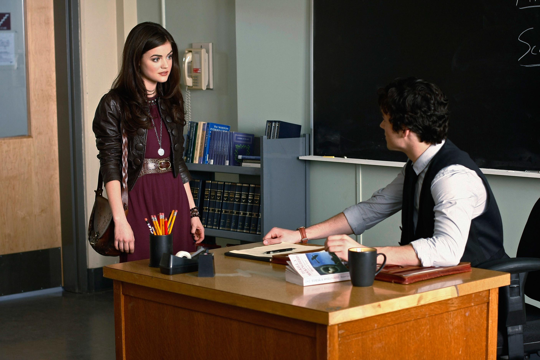 Aria and Ezra on Pretty Little Liars