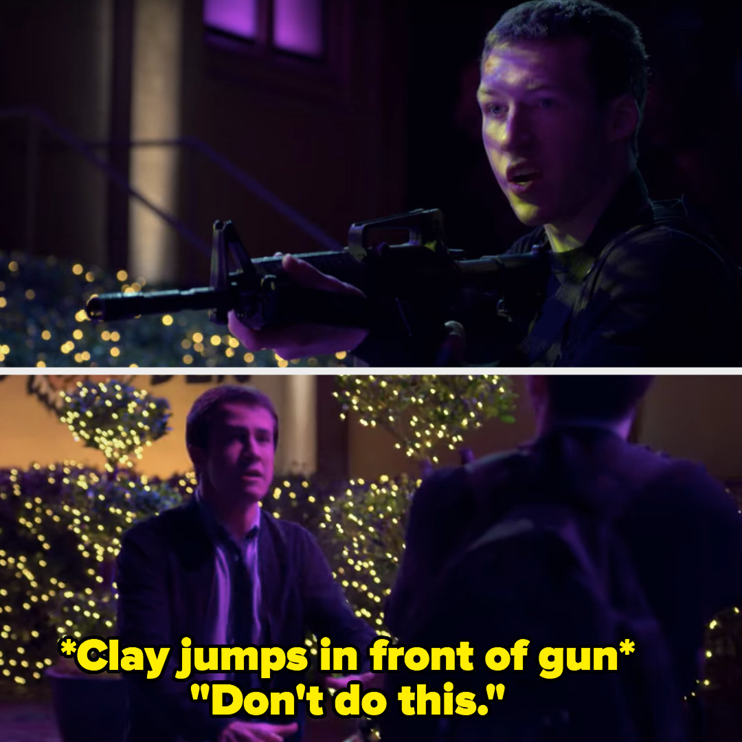 Clay jumps in front of Tyler's gun and begs him not to shoot up the dance