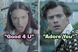 On the left, Olivia Rodrigo in the Good 4 U music video, and on the right, Harry Styles in the Adore You music video