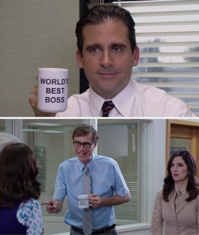 Michael holding the World's Best Boss mug on The Office and Neil holding the Existence's Best Boss mug on The Good Place