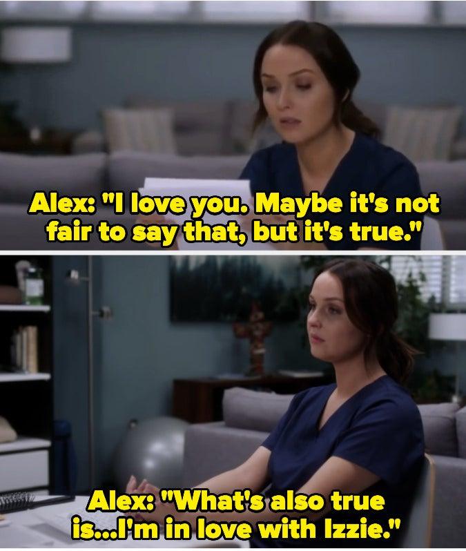 Jo reading the goodbye letter Alex left her