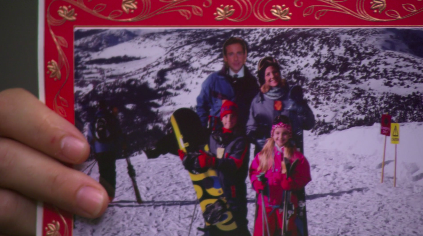 Michael clearly photoshopped next to Carol and her children on a ski trip