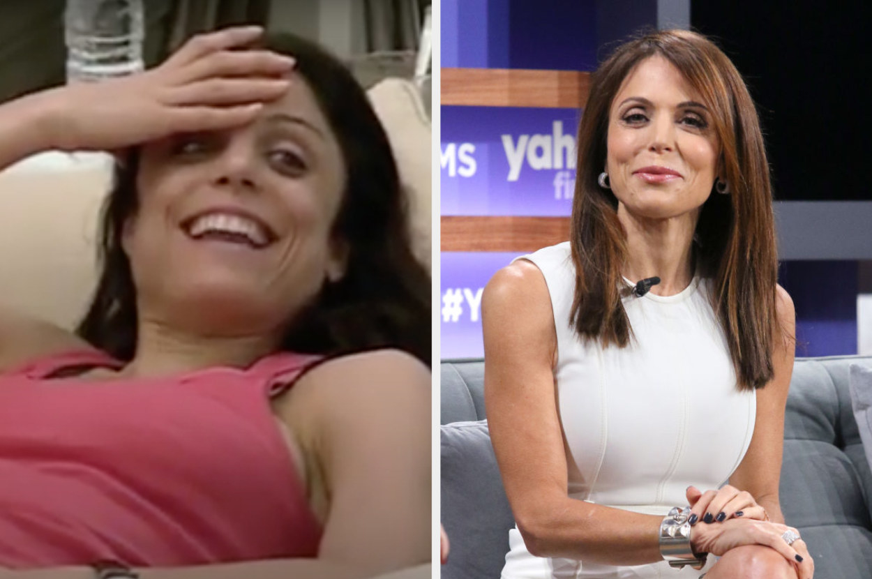 On the left, Frankel on The Apprentice relaxing on a couch. On the right, Frankel is on a talk show sitting on a couch