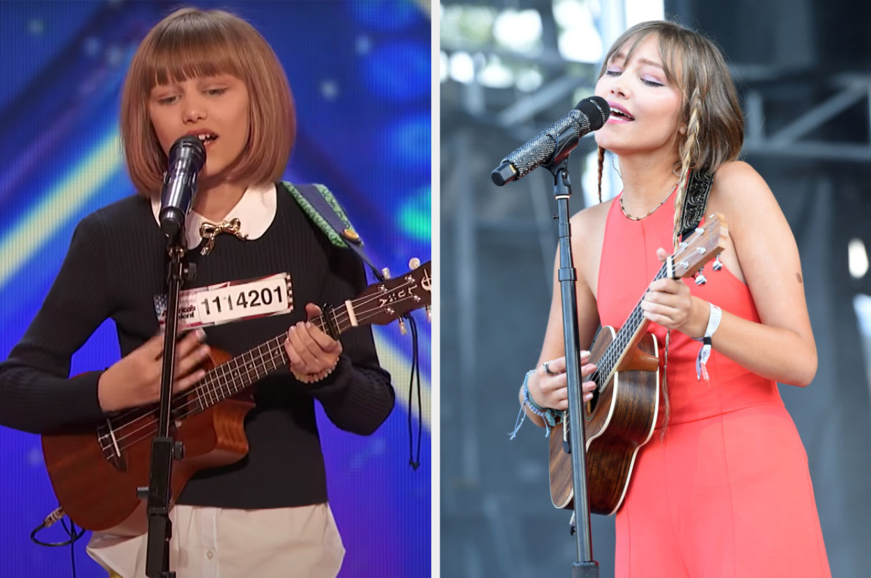 On the left, VanderWaal singing at America's Got Talent and playing the ukulele. On the right, she is singing on stage as an adult