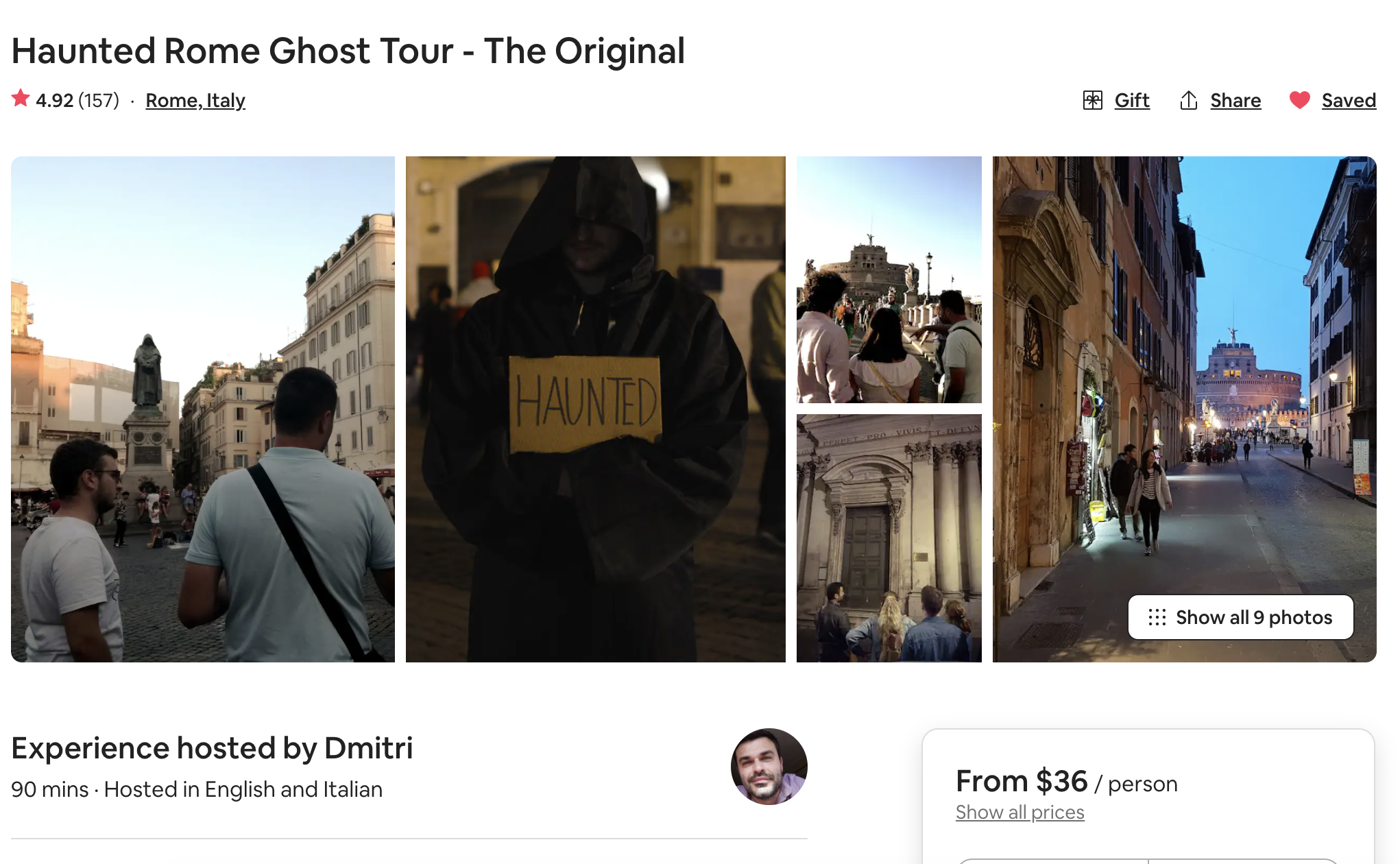 screen shot of a ghost tour in Rome