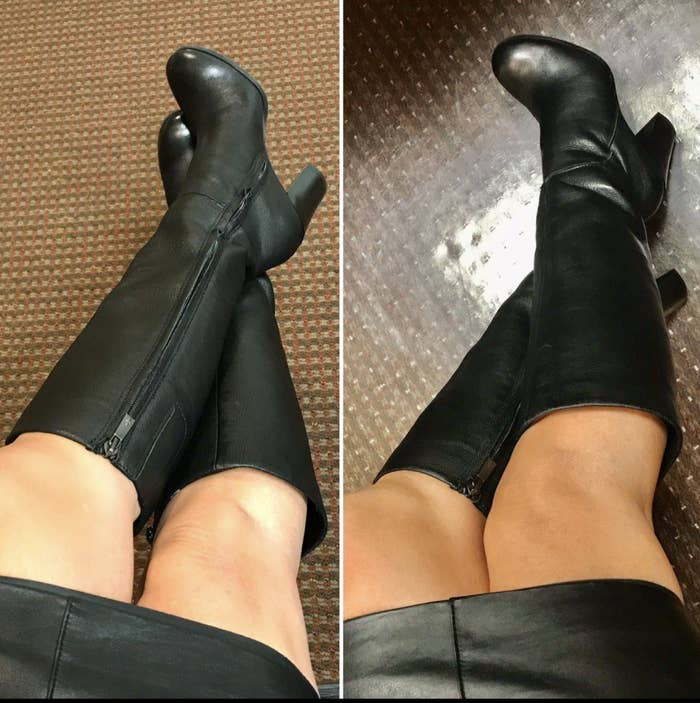 reviewer wearing the black boots