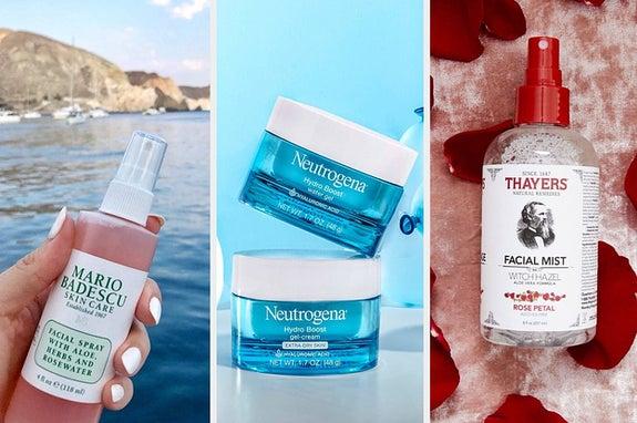 L: Mario Badescu face spray M: Neutrogena water gel moisturizer R: Thayers witch hazel face mist