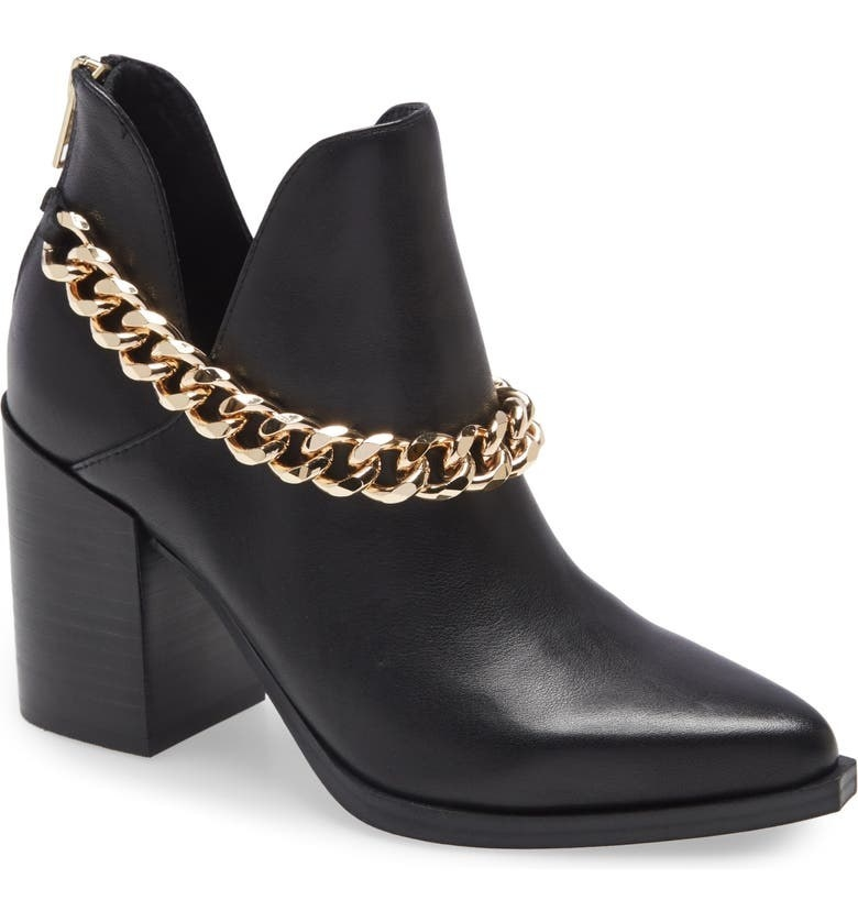 black booties with the gold chain