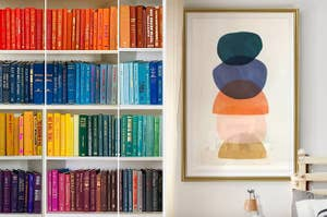 rows of colorful books on shelves, abstract wall art