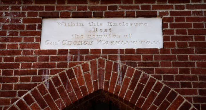 The plaque marking the tomb of George Washington