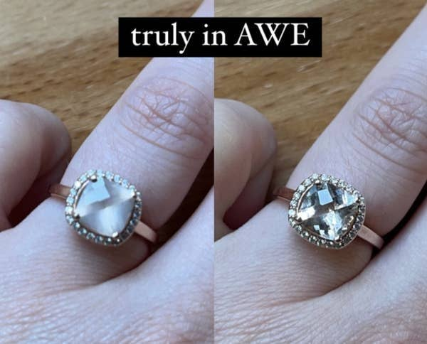 A BuzzFeed editors hand wearing a diamond ring before and after cleaning it with the cleaning pen