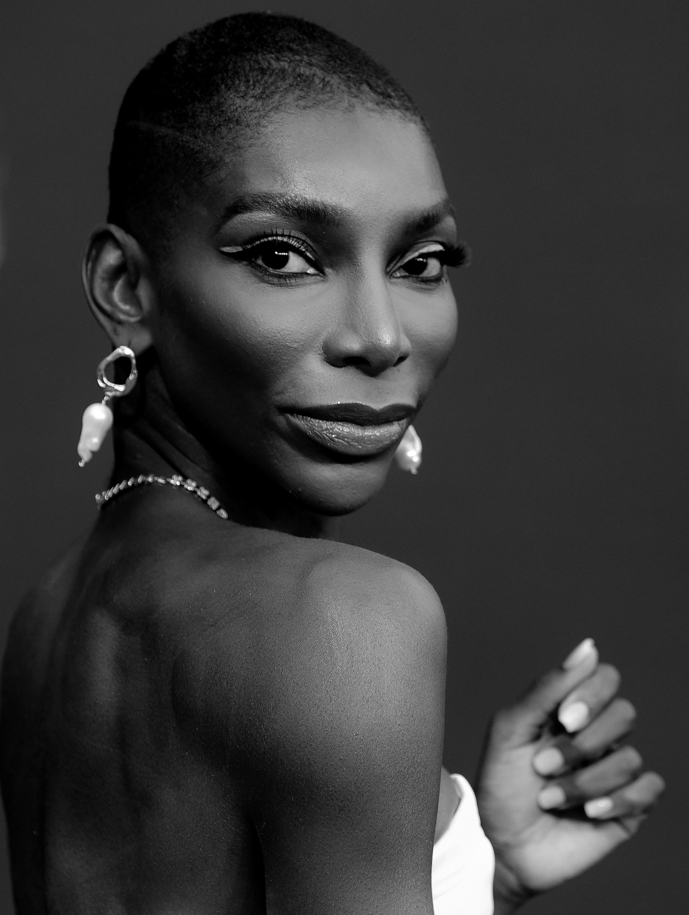 Black-and-white photo of Michaela