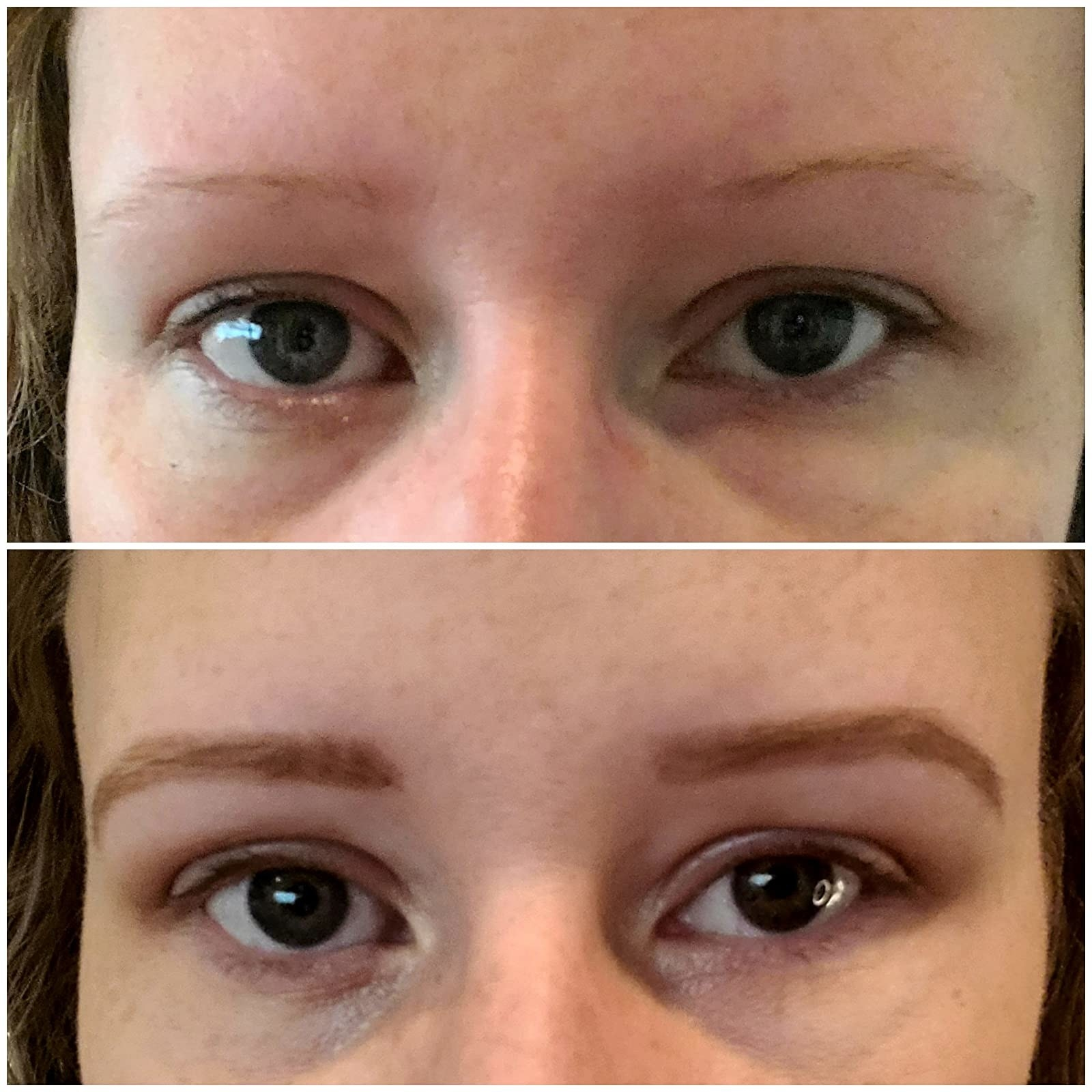 on top, reviewer with sparse auburn eyebrows. on bottom, reviewer with more defined auburn brows after using the brow pencil above