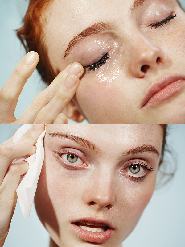 before and after images of a model using the cleanser to clean eye makeup off
