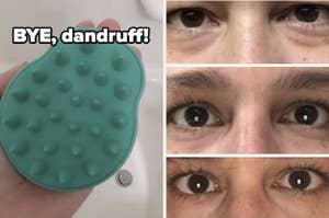 scalp massager and eye cream