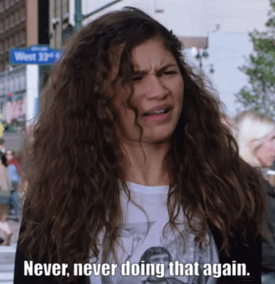 """Zendaya in """"Spider-Man: Far From Home"""" saying: """"Never, never doing that again"""""""