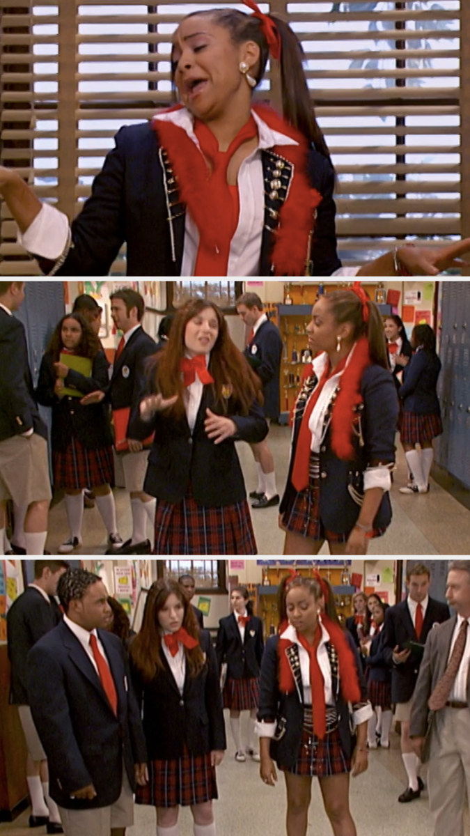 """Raven, Chelsea, and Eddie standing in the hallway on """"That's So Raven"""""""