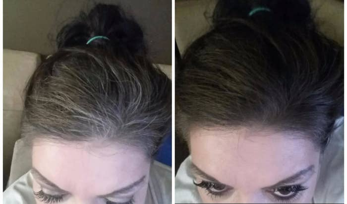 reviewer with gray roots then the roots matching their black hair