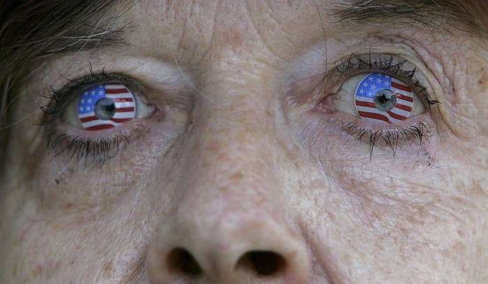 A woman with contacts that are colored to replicate the U.S. Flag