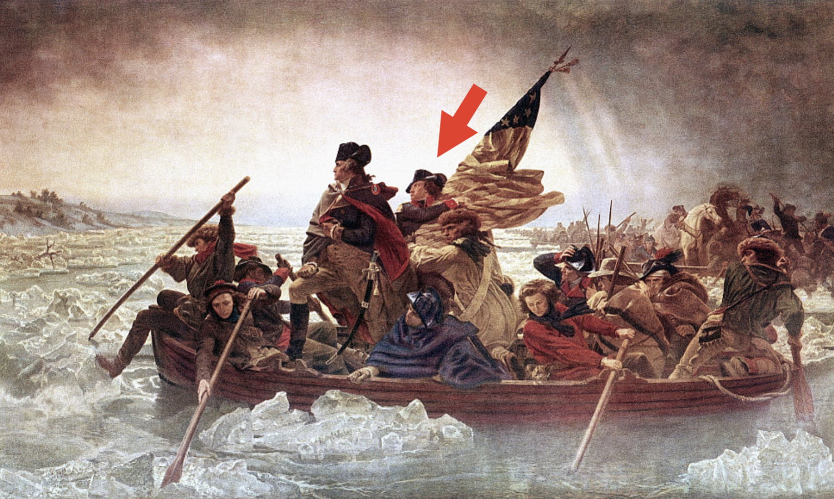 The painting, with James Monroe holding the flag