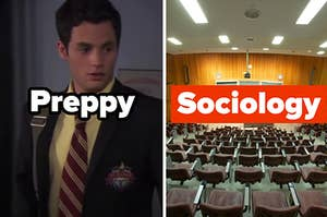 """A teen is dressed in a uniform labeled, """"preppy"""" with a classroom on the right labeled, """"sociology"""""""